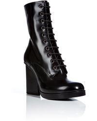 Jil Sander Patent Leather Laceup Boots - Lyst