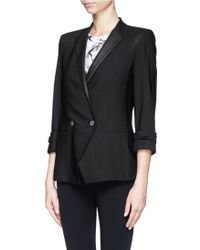 Helmut Lang Combed Leather Trim Double Breasted Wool Blazer - Lyst