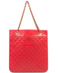 Chanel Pre-Owned Red Flat Document Bag - Lyst