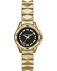 Karl Lagerfeld Ladies Karl 7 Gold Tone Pyramid Link Bracelet Watch - Lyst