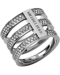Michael Kors Pavé Embellished Silver Tone Ring - Lyst