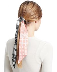 COACH - Black And White Patchwork Ponytail Scarf - Lyst