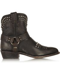 Frye - Billy Studded Distressed-leather Boots - Lyst