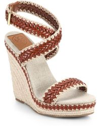 Tory Burch Lilah Woven Leather Platform Wedge Espadrilles brown - Lyst