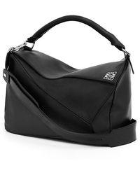 Loewe Women'S 'Large Puzzle' Leather Bag - Black - Lyst