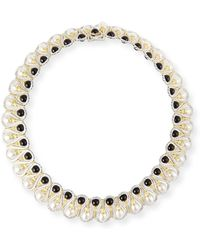 Buccellati - 18k Gold Collar Necklace With Onyx And Pearls - Lyst