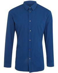 Maison Margiela Blue Overdyed Cotton Shirt - Lyst