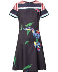 Suno | Painted Tulip Short-sleeve Fit And Flare Dress | Lyst