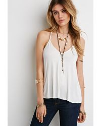 Forever 21 Embroidered Lace Back Cami - Lyst