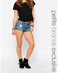 Noisy May Petite | Embroidered Denim Short | Lyst