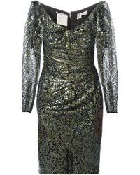 Emanuel Ungaro Sequin and Lace Silk Dress - Lyst