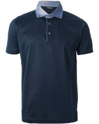 Lagerfeld - Contrast Collar Polo Shirt - Lyst