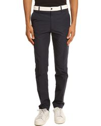 Kenzo Cotton/Linen Contrasting White Belt Trousers - Lyst