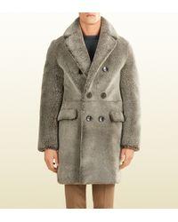 Gucci Beige Shearling Coat - Lyst