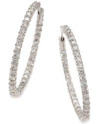Roberto Coin Diamond And 18K White Gold Hoop Earrings 1.4In. - Lyst