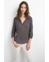 Velvet By Graham & Spencer Veleda Cotton Gauze Contrast Collared Popover gray - Lyst