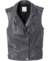 Rebecca Taylor Leather Moto Vest - Lyst