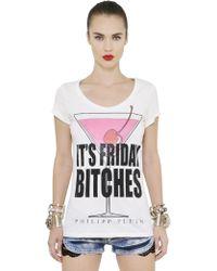 Philipp Plein Embellished & Printed Cotton T-Shirt - Lyst