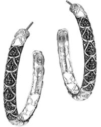 John Hardy Naga Silver Lava Hoop Earrings with Black Sapphire - Lyst