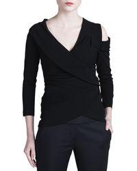 Donna Karan New York Cold-Shoulder Wrapped Top - Lyst