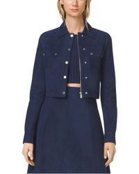 Michael Kors Cropped Bonded-Suede Utility Jacket - Lyst