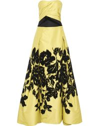 Carolina Herrera | Strapless Floral Printed Ball Gown | Lyst