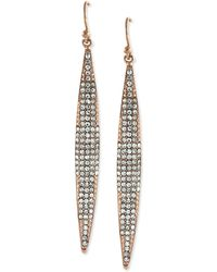 Vince Camuto - Rose Gold-Tone Crystal Pave Linear Earrings - Lyst