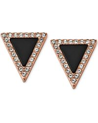 Michael Kors Rose Gold-Tone Jet Triangle Stud Earrings - Lyst