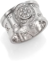 Gucci Icon Twirl Diamond & 18K White Gold Medium Band Ring - Lyst