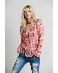 Free People Fp One Pintuck Plaid - Lyst