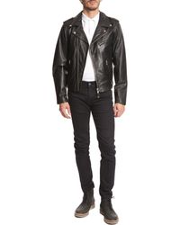 Schott Nyc Black Biker Jacket - Lyst