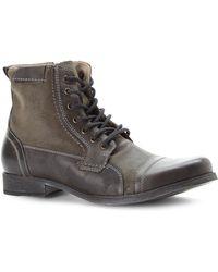 Steve Madden Grey Triggah Cap Toe Boots - Lyst
