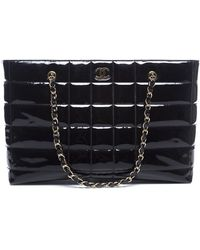 Chanel Pre-owned Patent Leather Chocolate Bar Tote Bag - Lyst