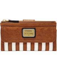 Fossil Emory Leather Patchwork Zip Clutch Wallet - Lyst