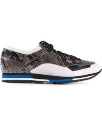 Lanvin Contrast-Panel Calf-Leather Sneakers - Lyst