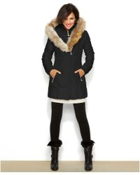 Betsey Johnson Hooded Lace-up Puffer Coat - Lyst