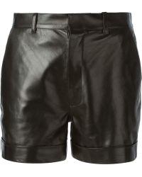 Saint Laurent   High Waist Leather Short   Lyst