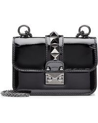 Valentino Rockstud Patent Leather Lock Shoulder Bag - Lyst