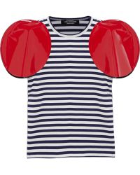 Junya Watanabe Faux Patent Leather-Trimmed Striped Jersey T-Shirt - Lyst