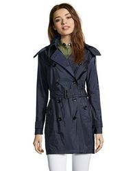 Burberry Brit Dark Indigo Woven 'Balmoral' Double Breasted Trench blue - Lyst