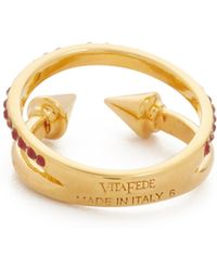 Vita Fede - Double Band Crystal Ring - Gold/ruby - Lyst