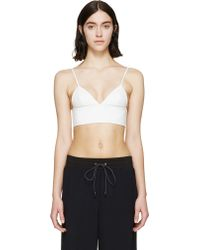 T By Alexander Wang White Matte Leather Bralette - Lyst