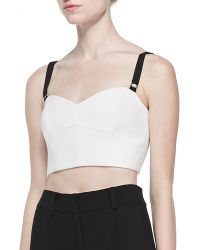 Milly Double-weave Cady Bustier with Contrast Straps - Lyst