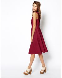 Asos Midi Skater Dress in Texture with High Neck - Lyst