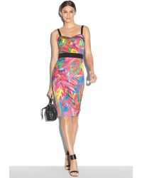 Milly Feathers Print Bustier Dress - Lyst
