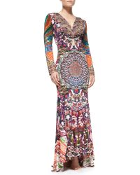 Camilla Keyhole-front Beaded Printed Maxi Coverup - Lyst
