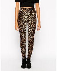 Asos High Waist Leggings In Leopard Print With Deep Waistband - Lyst