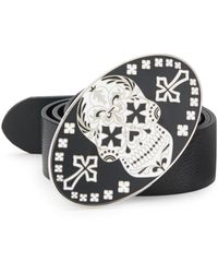 King Baby Studio Day Of The Dead Enameled Leather Belt silver - Lyst