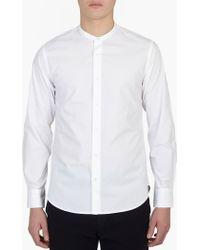 Officine Generale | White Cotton Collarless Shirt | Lyst