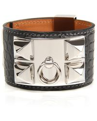Hermès - Graphite Matte Alligator Collier De Chien Bracelet - Lyst